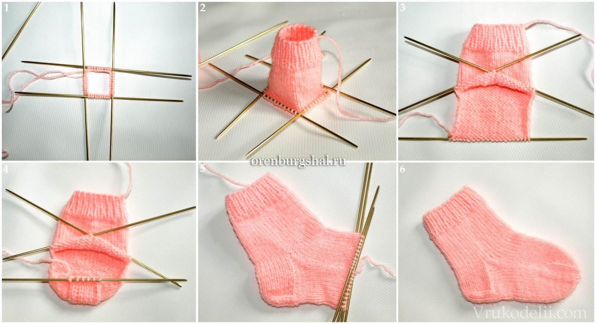 Вязанные носочки для новорожденных спицами видео