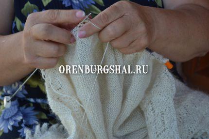 вязка пухового платка из оренбурга