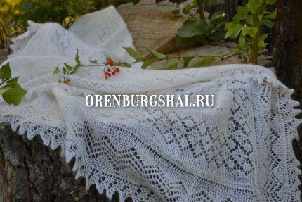 оренбургский пуховый платок белый
