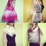 11 способов  креативно носить пуховые платки
