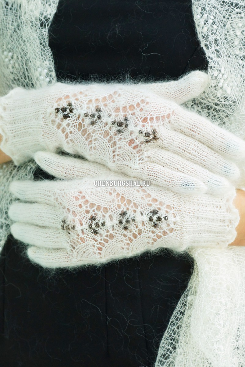 White lacy gloves