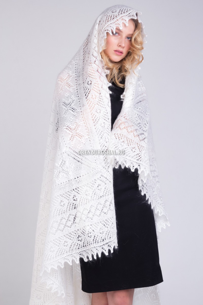 "Оренбургский пуховый платок - Original white downy shawl ""Temptation"""