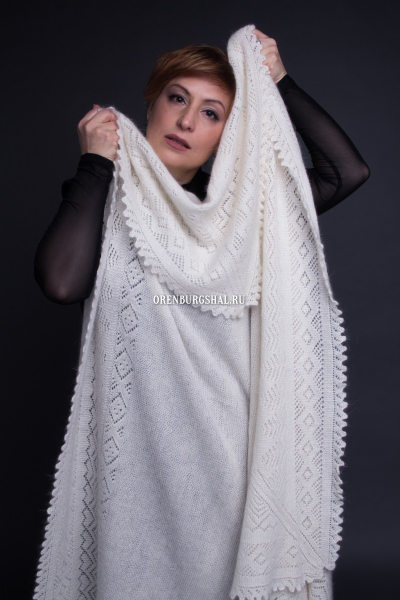 "Оренбургский пуховый платок - White downy shawl ""My lovely"""