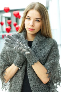 Gray downy gloves