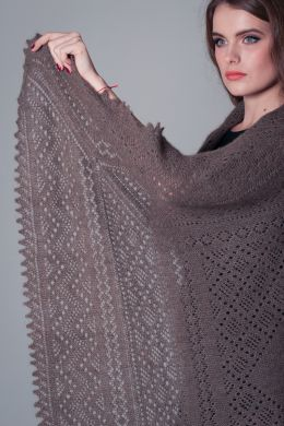 Оренбургский пуховый платок - Gray lacy shawl 'Frosty lace'