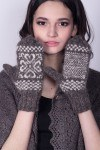 Downy gray mittens with a white pattern
